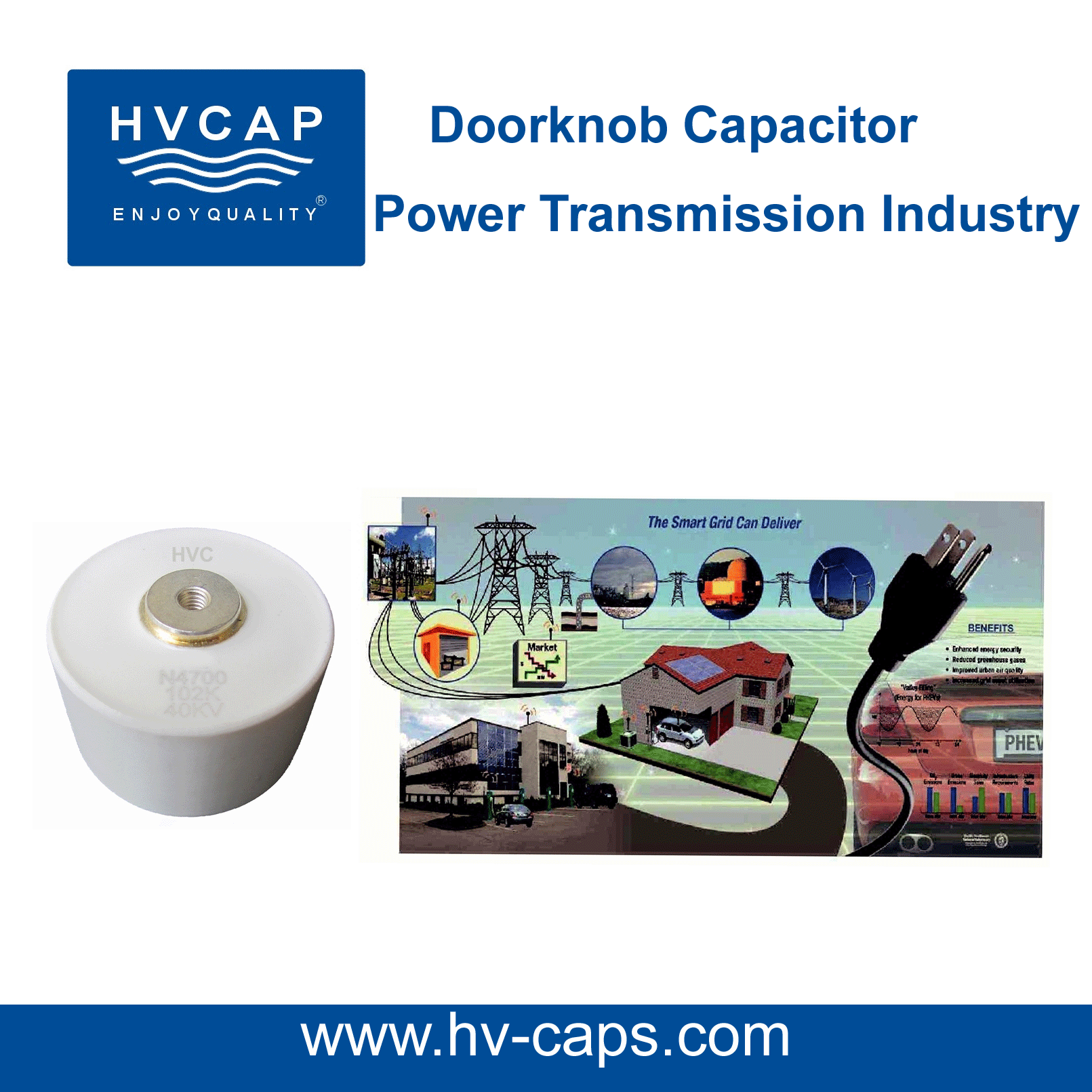 High Voltage doorknob capacitor for power transmission indus